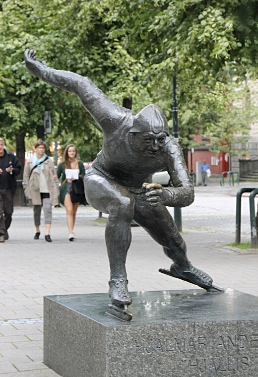 Trondheim, monument skater Hjalmar Andersen