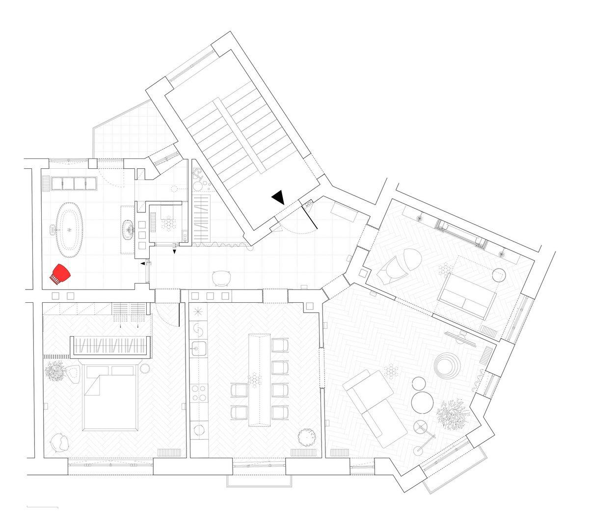 Strauss Apartment, YCL Studio, квартира в Страсбурге, оформление квартиры фото, светлый интерьер квартиры, паркет в квартире фото, оформление кухни фото