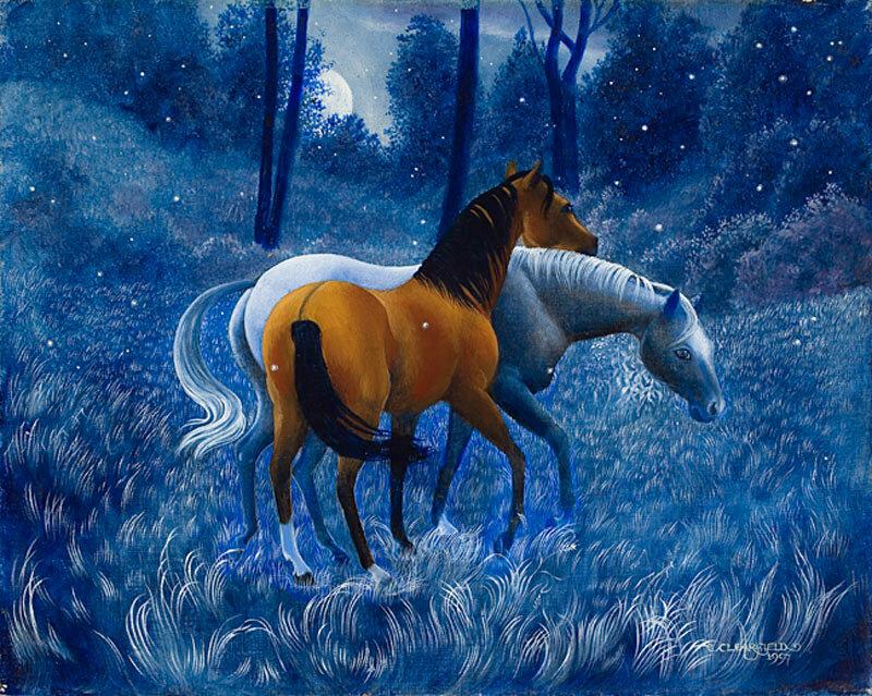 На заре, ранним утром, на заре, за рекой по траве, ходит в поле красный конь Художница Rachel Clearfield