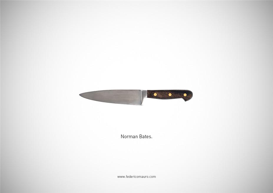 Знаменитые клинки, ножи и тесаки культовых персонажей / Famous Blades by Federico Mauro - Norman Bates
