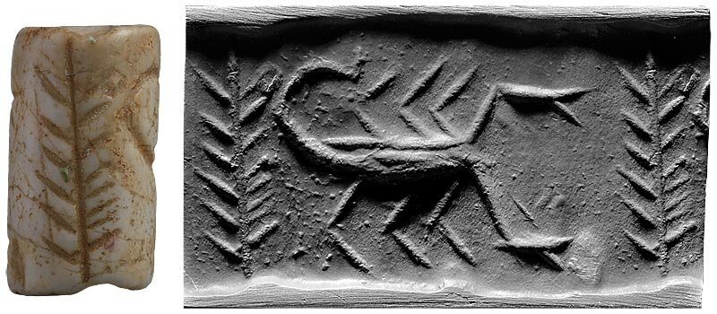 Scorpion with a Plant Cylinder seal and impression Mesopotamia, Late Uruk period Jamdat Nasr period (ca. 3500–2900 B.C.)