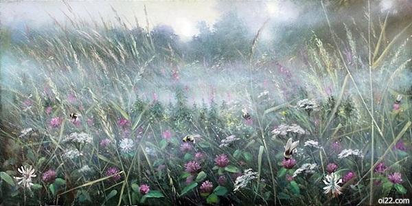 蝴蝶丛中飞,唯美复古油画插画欣赏。