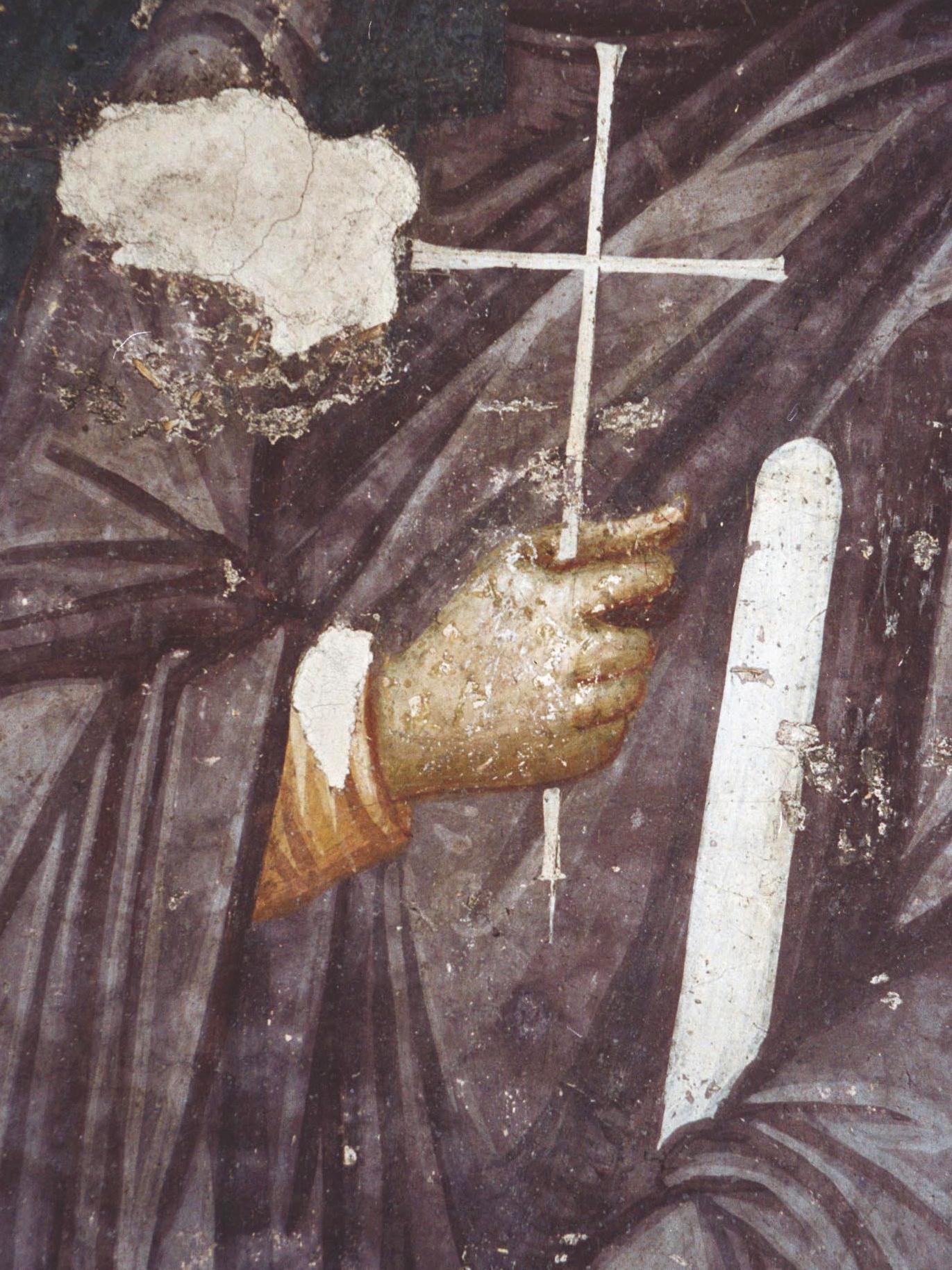 Первомученица равноапостольная Фекла. Фреска монастыря Грачаница, Косово, Сербия. Около 1321 года. Фрагмент.