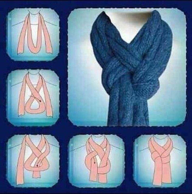 Способ завязывания вязаного шарфа