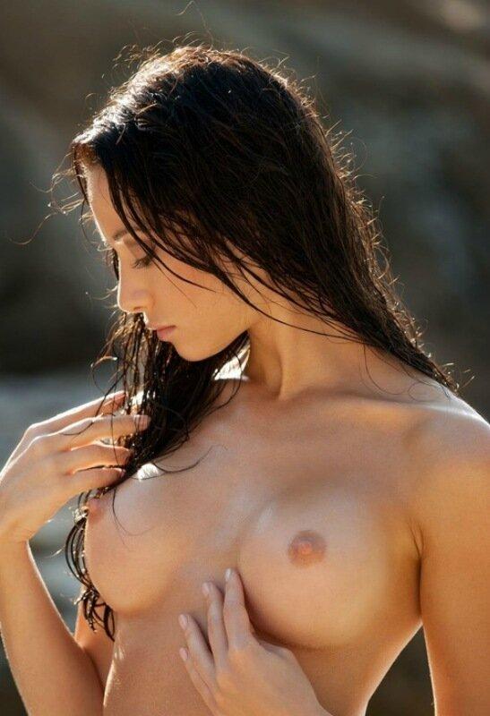 Sexy hot female handbra topless