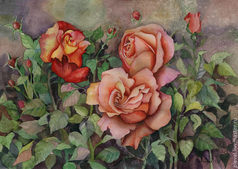"""Картина акварелью """"Осенние розы"""""""