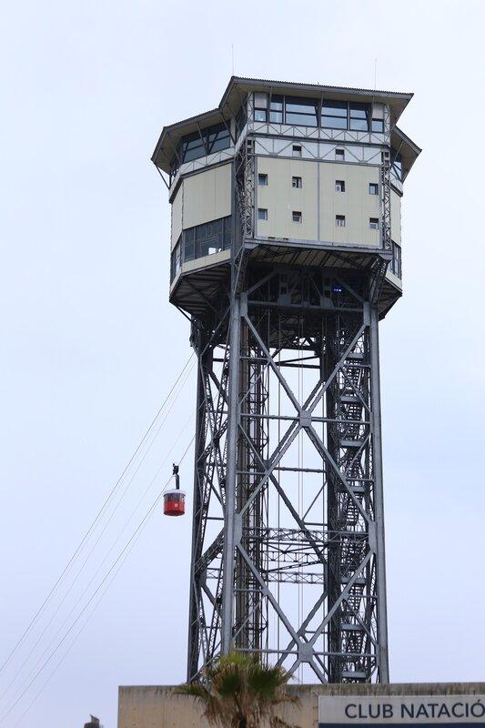 Barcelona. Of Barceloneta. Torre Sant Sebastià Тeleferic de Montjuїc. the tower of San Sebastian the cable car at Barceloneta-Montjuic. Barcelona. Barceloneta beach.