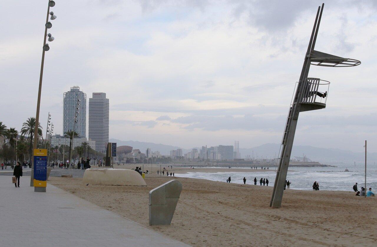 Барселона. Пляж Сан Себастьян (Platja de Sant Sebastià)