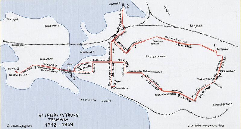 Схема трамвайных линий 1912