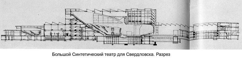 Конкурсный проект Большого Синтетического театра для Свердловска Г. Б. и М. Г. Бархиных, поперечный разрез