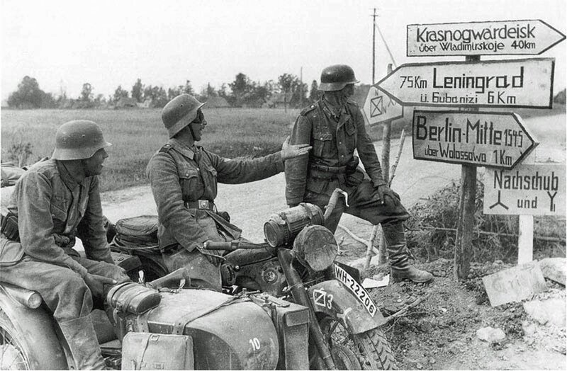 German soldiers near Leningrad, 1041, when the Russian front was still a campaign of slashing victory.