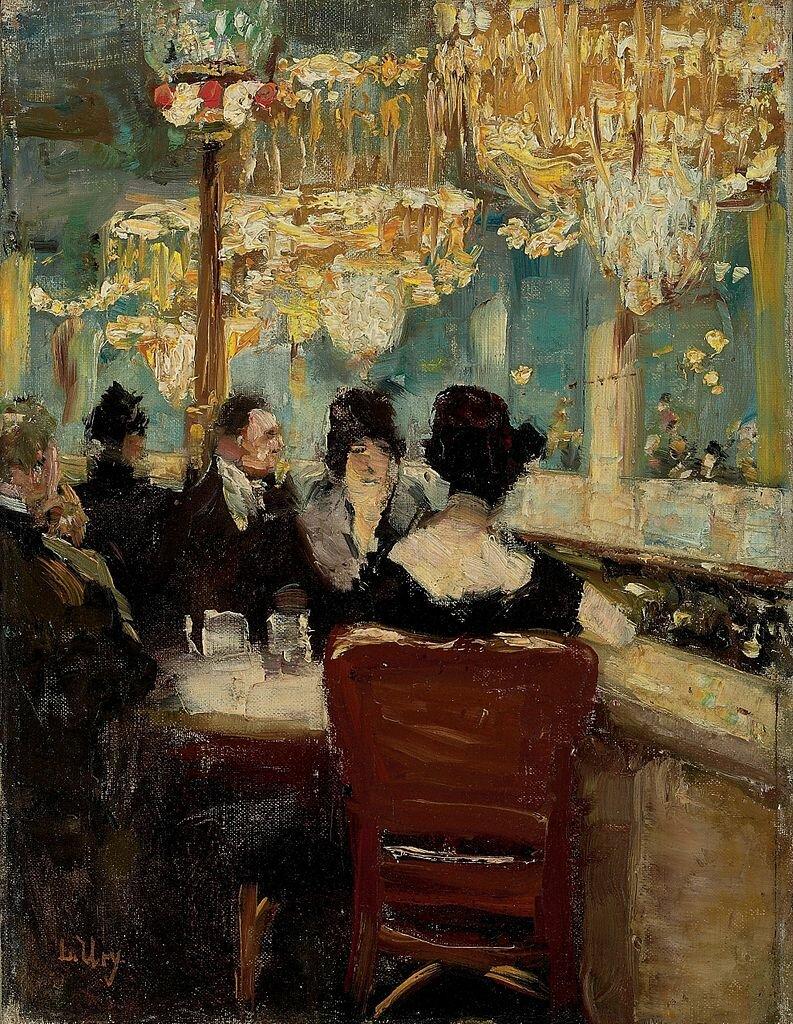 """Верхние столы в галерее  кафе """"Родина""""на Потсдамской площади в Берлине 1920-е, Лессер Ури(1861-1931).jpg"""