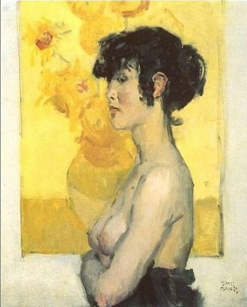 Женщина перед подсолнухами Ван Гога, 1917 год, худ. Исаак Исраэлс (1865-1934)..jpg