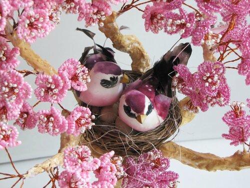Мастер класс Сакура из бисера Дерево с птицами смотреть бесплатно сакура из бисера мастер класс СТВОЛ сакура из...