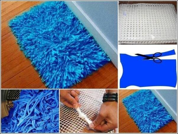 Как сделать коврик из старых вещей своими
