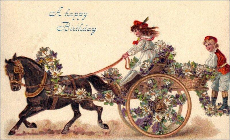 Открытка с днем рождения с лошадками