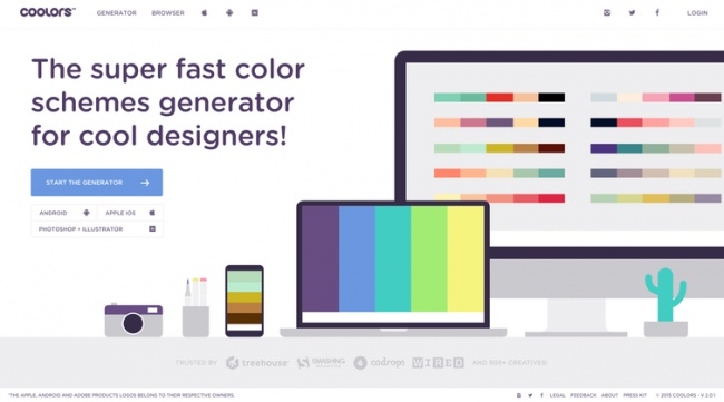 Coolors — минималистичный сайт, спомощью которого можно быстро сгенерировать красивые цветовые схе