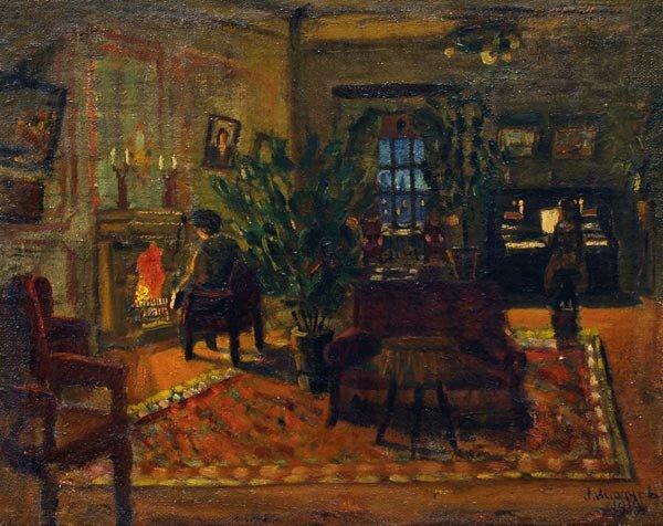 Леонтий Никифорович Мазанов (1902-1982).  Рождественский вечер, 1919.