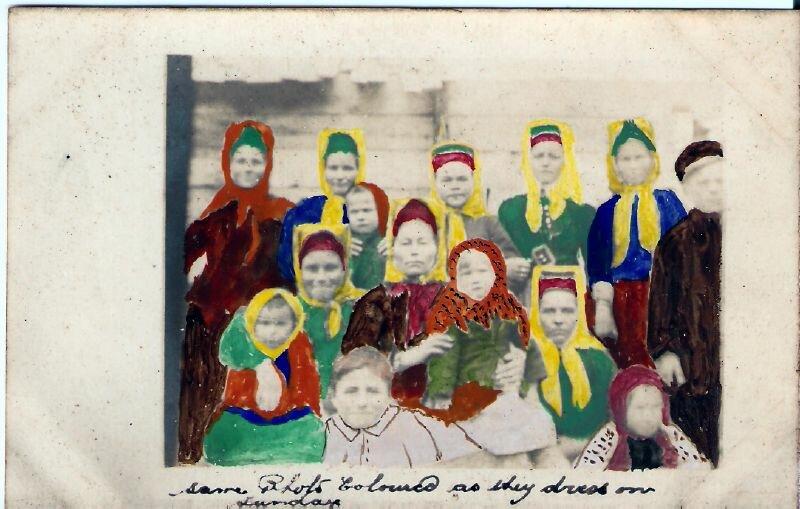 1917. 9 июня . Жители Йоканьгскийской деревни. Раскраска