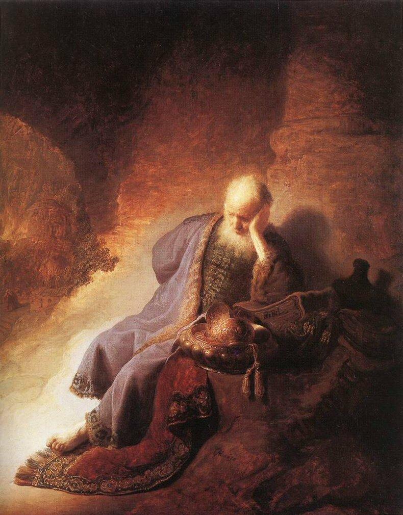 Иеремия, скорбящий о гибели Иерусалима,1630. Рембрандт Харменс ван Рейн,(1606-1669)