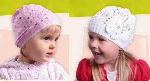 Весенние шапочки спицами по мотивам TUTU