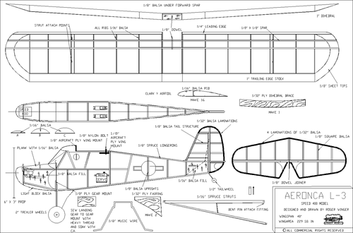 Чертеж модели самолёта Aeronca L-3