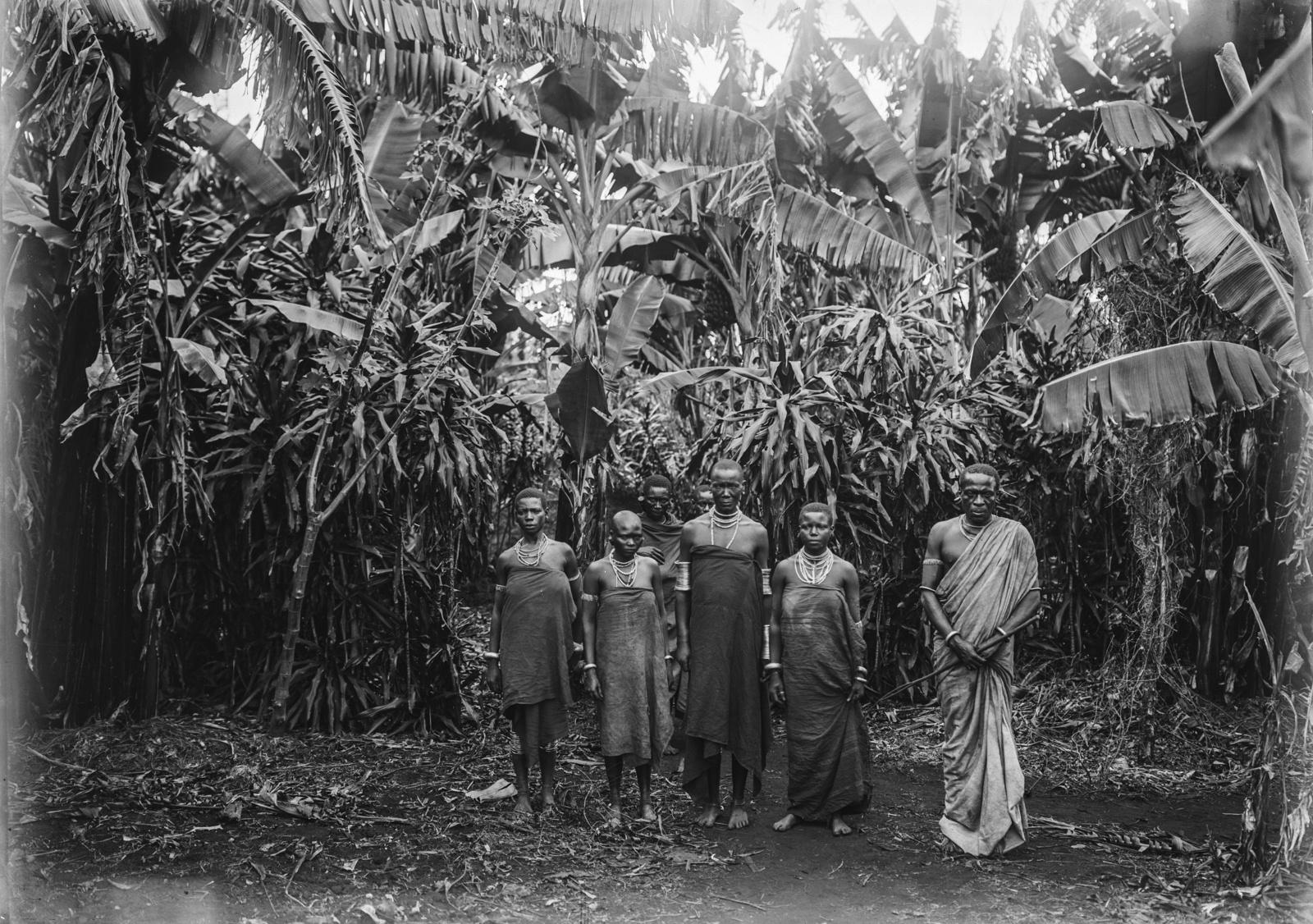 211. Групповой портрет мужчин и женщин перед банановой рощей
