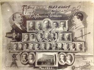 1935 г. Управление единой гидрометеорологической службы. Воронеж. 1 выпуск техников гидрометров