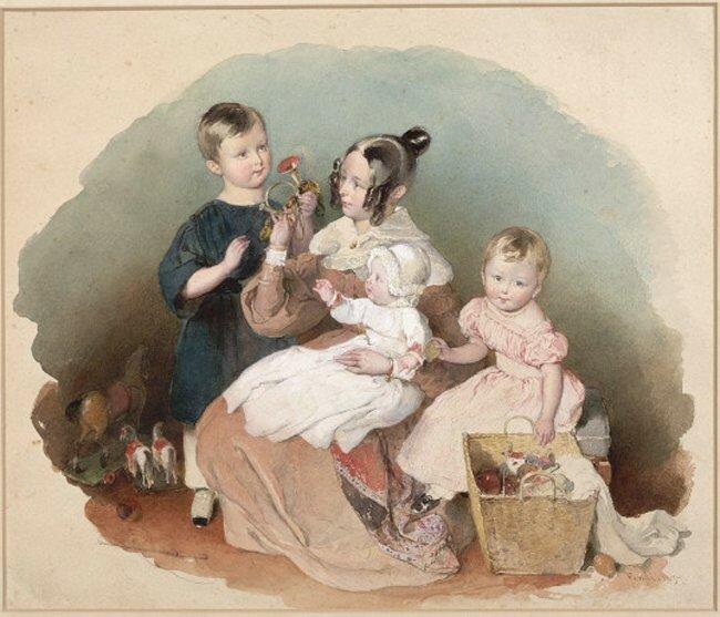 fendi_Elise und Fanny Liechtenstein mit ihrer Erzieherin Mlle. Verneille 1838 г..jpg