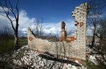 Кирпичная труба и остатки дома, разрушенного огнем накануне Радуницы в деревне Кажушки в зоне отчуждения возле Чернобыльского реактора. 24 апреля, 2017 года. Фото: Vasily Fedosenko / REUTERS     BELARUS-ANNIVERSARY/