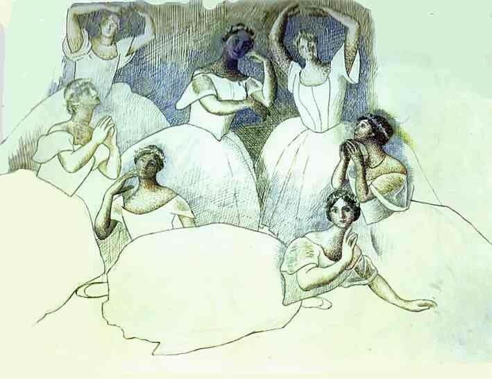 Танцоры. Ольга Хохлова лежит на переднем плане. 1919-20. Карандаш.