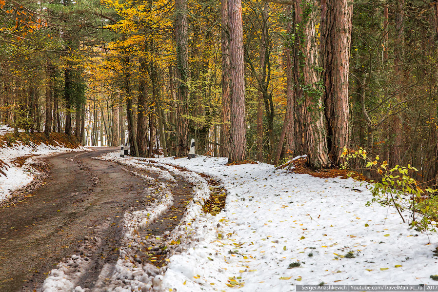 23. Чем ближе к плато, тем больше снега. И облака лежат уже прямо на дороге...