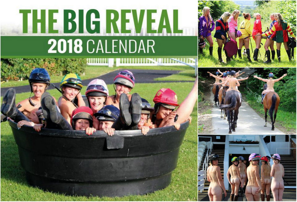 Female jockeys undressed for a charity calendar.