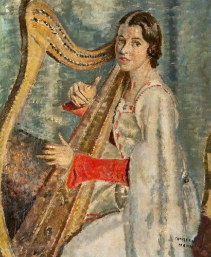 Cathleen Mann (British, 1896–1959) Singer with a Clàrsach (Gaelic Harp). Glasgow Libraries