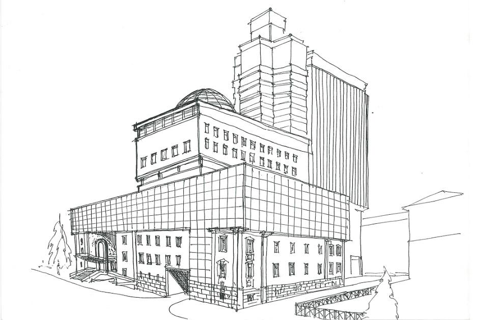 27. Зародилась идея нависающего над Коммунистической фасада административного здания.