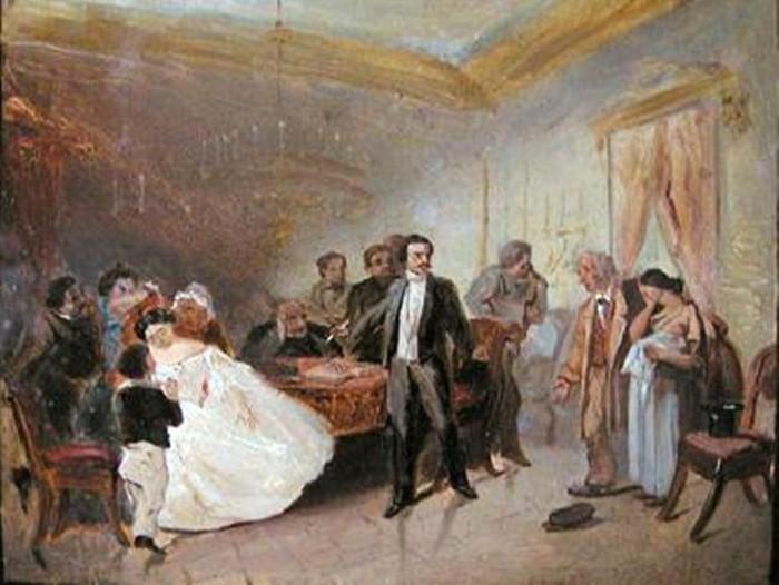 По эскизу видно, что замысел был смелее: там дочка в белоснежном платье, то есть срывалась не помолв