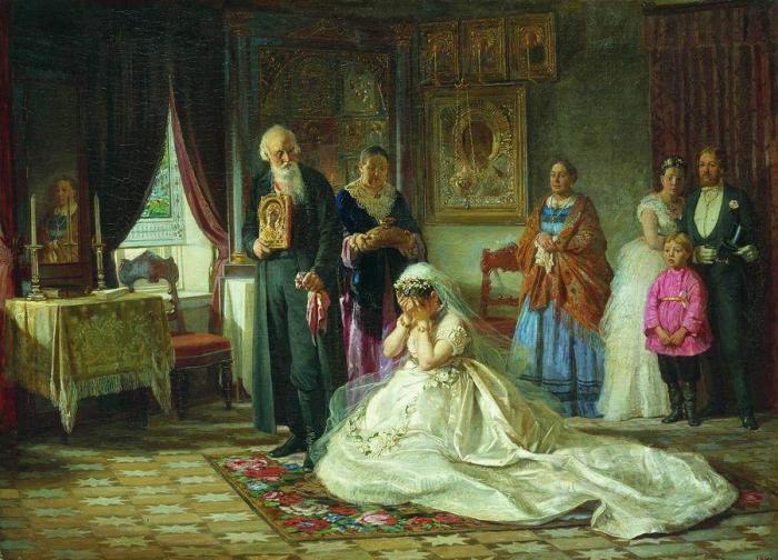 Картина Журавлева «Перед венцом» за которую он получил звание академика, пользовалась такой популярн