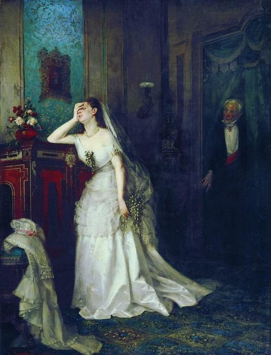 В более позднем полотне, «После венчания», и интерьер изящный, аристократический, и отец-дворянин (у