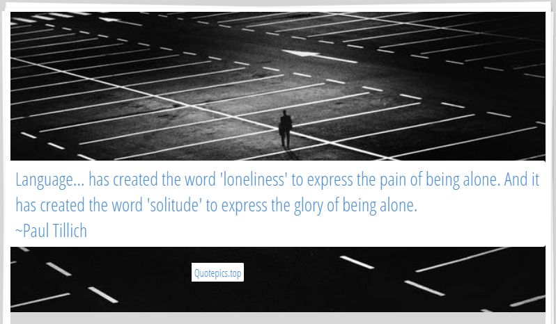 Language... has created the word 'loneliness' to express the pain of being alone. And it has created the word 'solitude' to express the glory of being alone. ~Paul Tillich