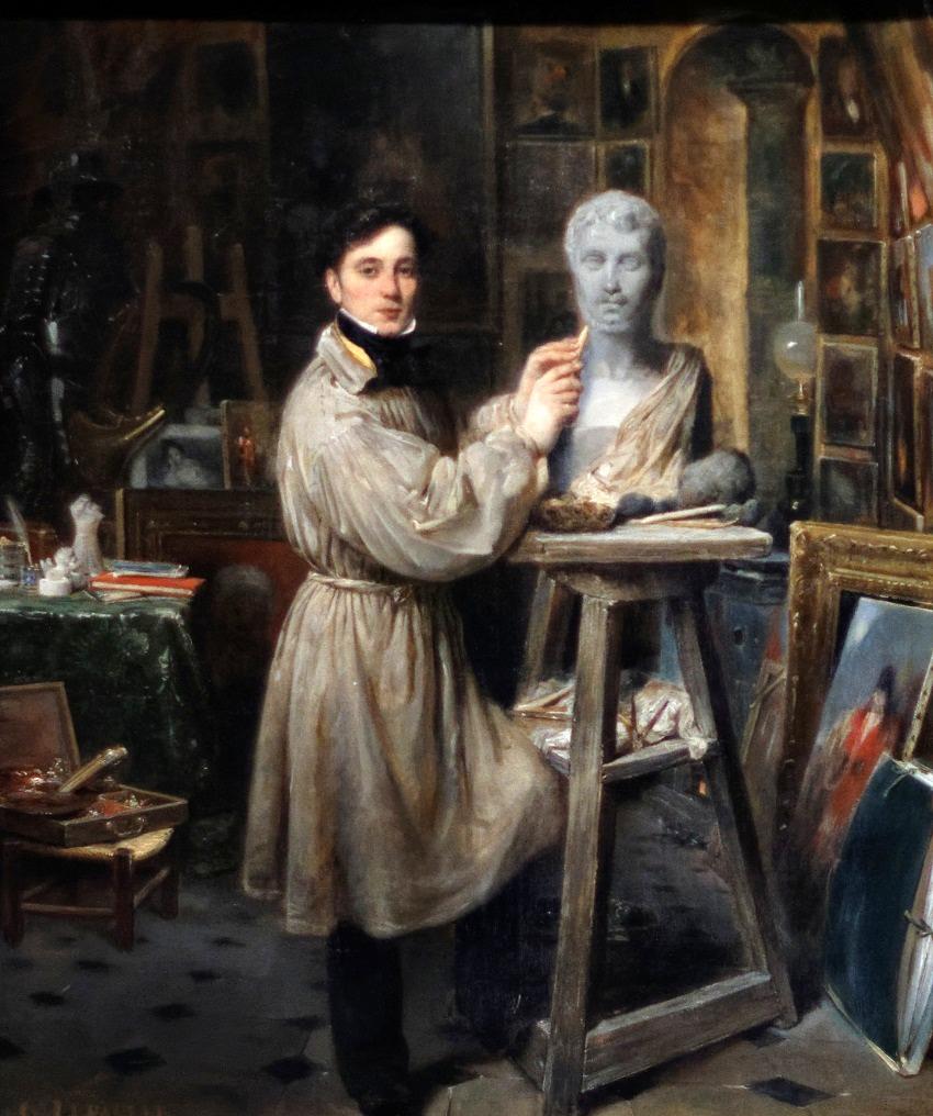 Jean-Pierre Dantan (1800-1869) en train de modeler le buste de Lépaulle