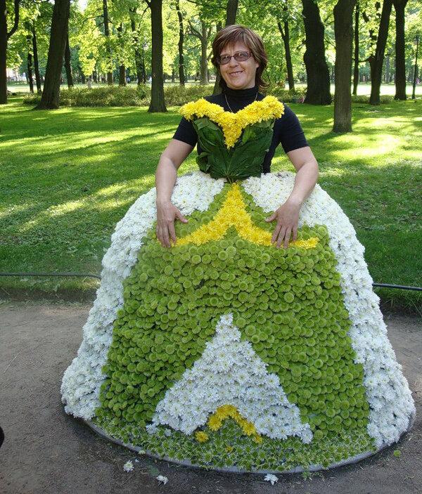 Поделки платья из цветов