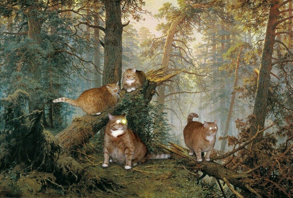 Коты выходят из леса, чтобы почитать Чужой Вклад