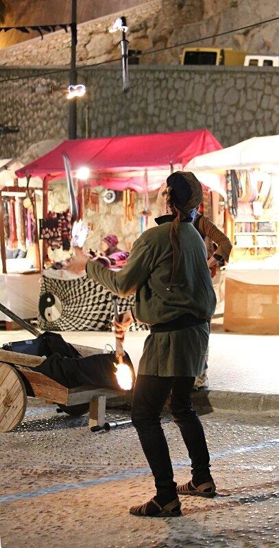 Пеньискола. Батарея Санта-Мария. уличные артисты. Batería del Santa Maria. Peniscola