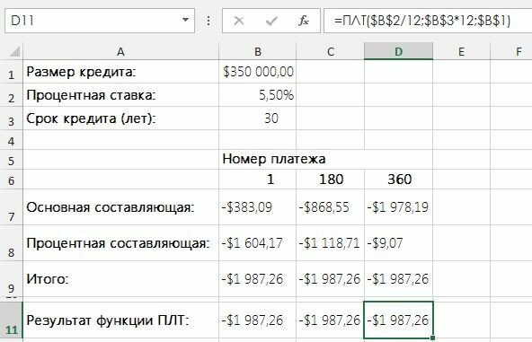 Как в Excel для расчета компонентов процентной ставки и основных выплат использовать функции ОСПЛТ и ПРПЛТ
