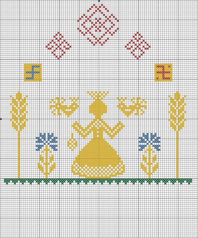 Схема вышивки макошь оберега 47