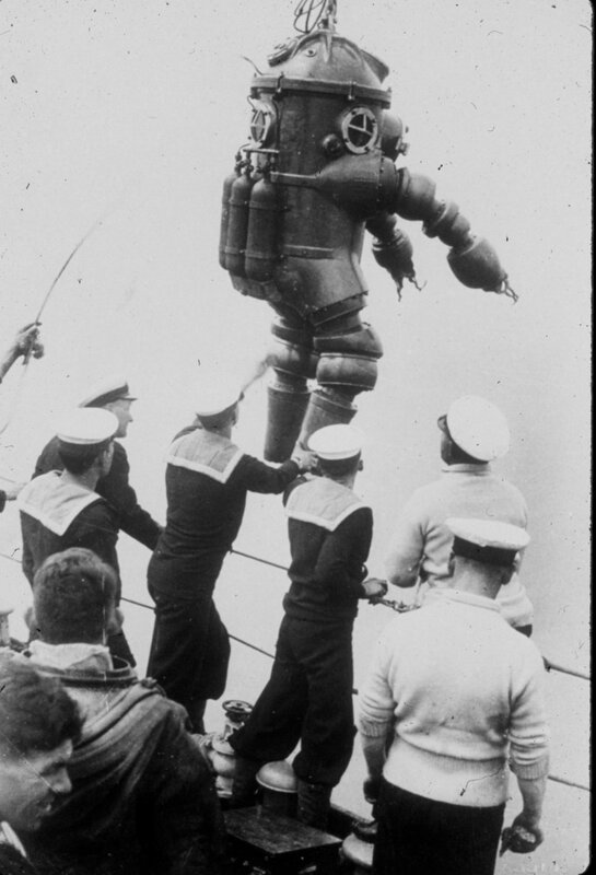 Jim Jarrett about to explore the wreck of the Lusitania, 312 feet down. 1935