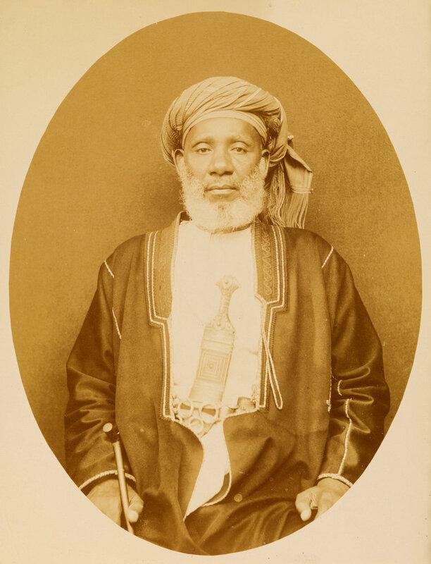 Tippu Tip (Hamed bin Mohammed) Famous AfricanArab slave and ivory trader posing in Zanzibar, 1890.