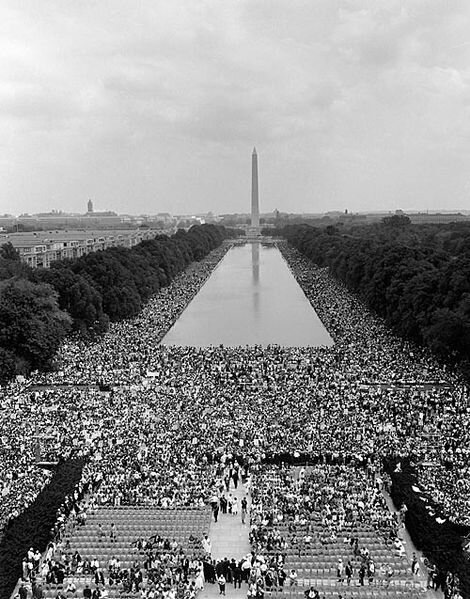 View from the Lincoln Memorial toward the Washington Monument. August 28, 1963.