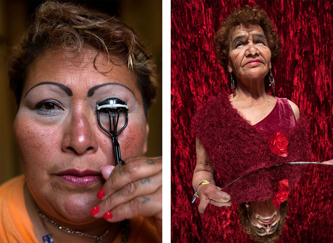 Left: 2Mexico City, 2008, Paola, a resident at Casa Xochiquetzal, puts on makeup before going to work. When this photo was taken, she was one of the youngest women at the shelter and still worked the streets. On January 1, 2011, she disappeared and never
