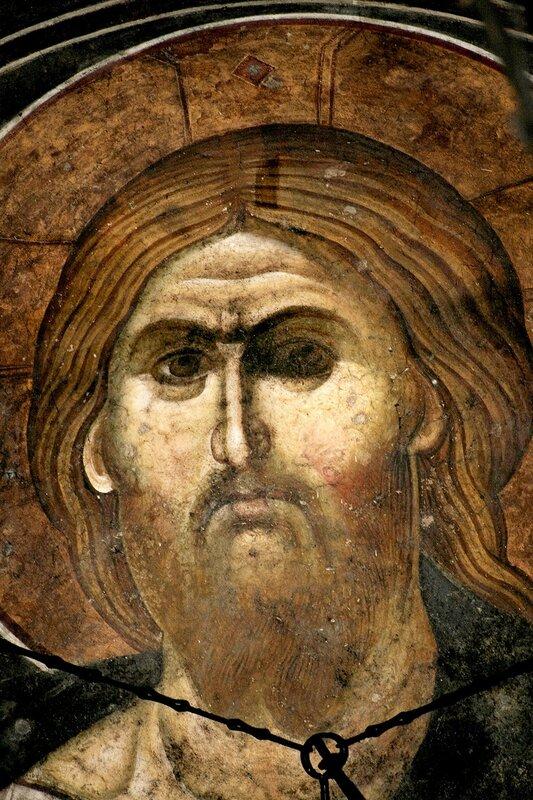 Лик Спасителя. Фреска монастыря Грачаница, Косово, Сербия. Около 1321 года.
